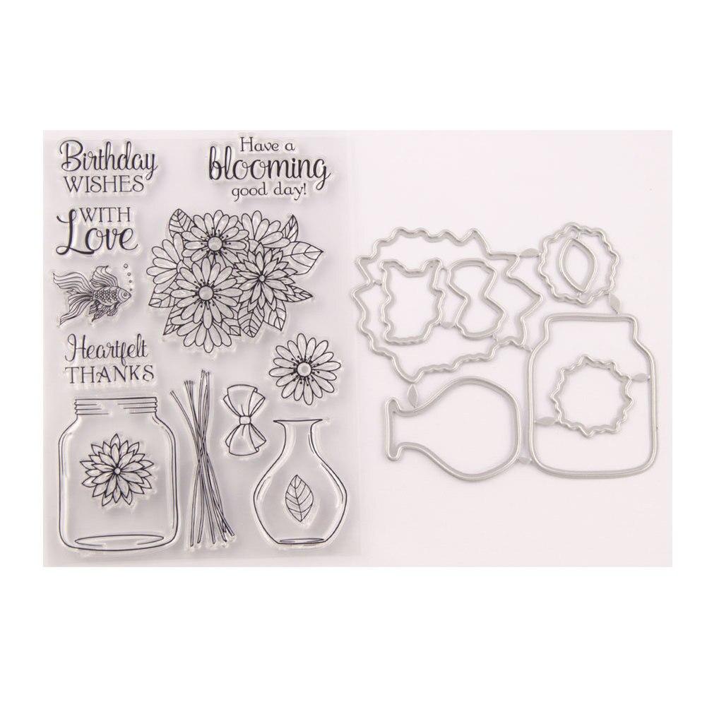 Jarrón de deseos, jarrón de flores, sellos y troqueles de corte de Metal, troqueles y sellos DIY, plantilla de tarjeta para álbum de recortes, manualidades de papel