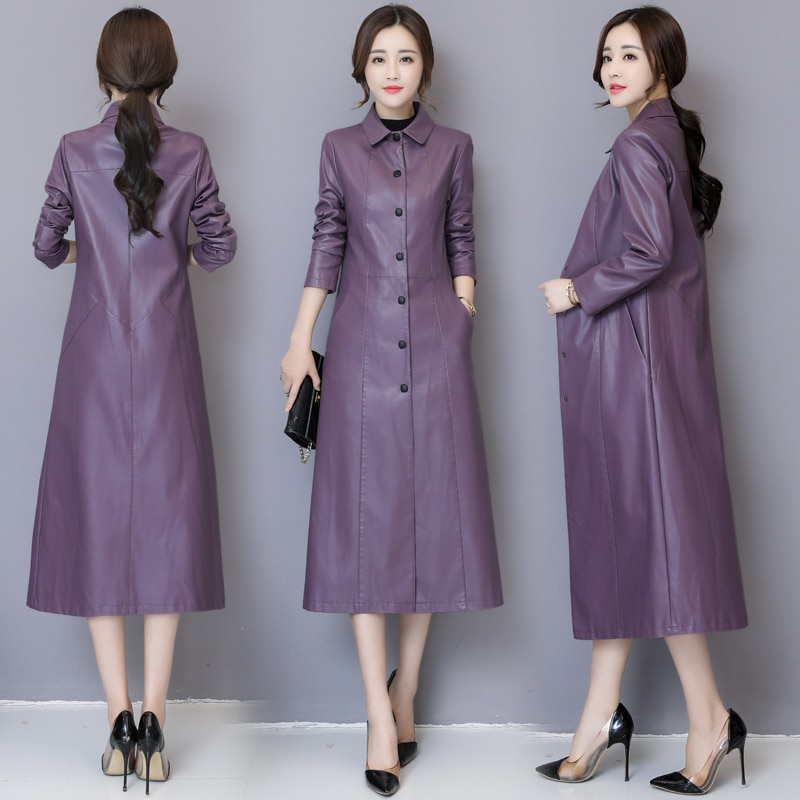 Autumn Winter Long Pu Leather Jacket Women Plus Size 5XL Fashion Slim Soft Leather Coat Black Leather Jacket Women's Trench Coat enlarge