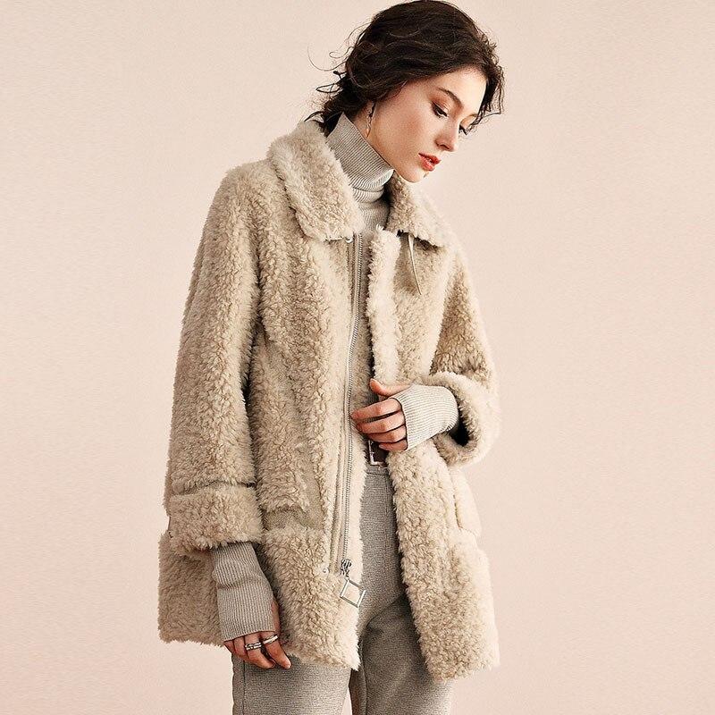 Winter Polar Fleece Lapel Belt Zip Jacket Eco-friendly Fur Teddy Fur Zip Pocket Integrated Sheep Shearing Fashion Warm Coat Lady