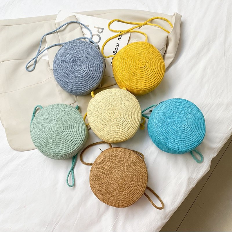 Muliti-color Woven Rattan Bag Round Straw Shoulder Small Beach HandBags Women Summer Hollow Handmade Messenger Crossbody