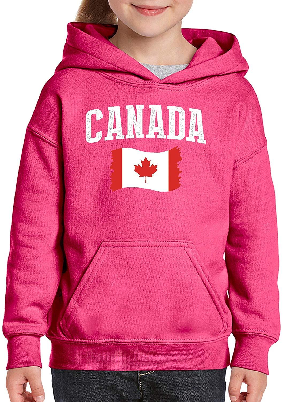 TSDFC Canadá bandera canadiense Unisex Sudadera con capucha para niñas y niños sudadera Juvenil (mapa) Azalea Rosa Unisex hombres mujeres Sudadera con capucha