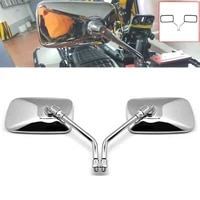 1pair universal rectangle metal shell motorcycle rearview mirrors 10mm chrome motorcycle accessories