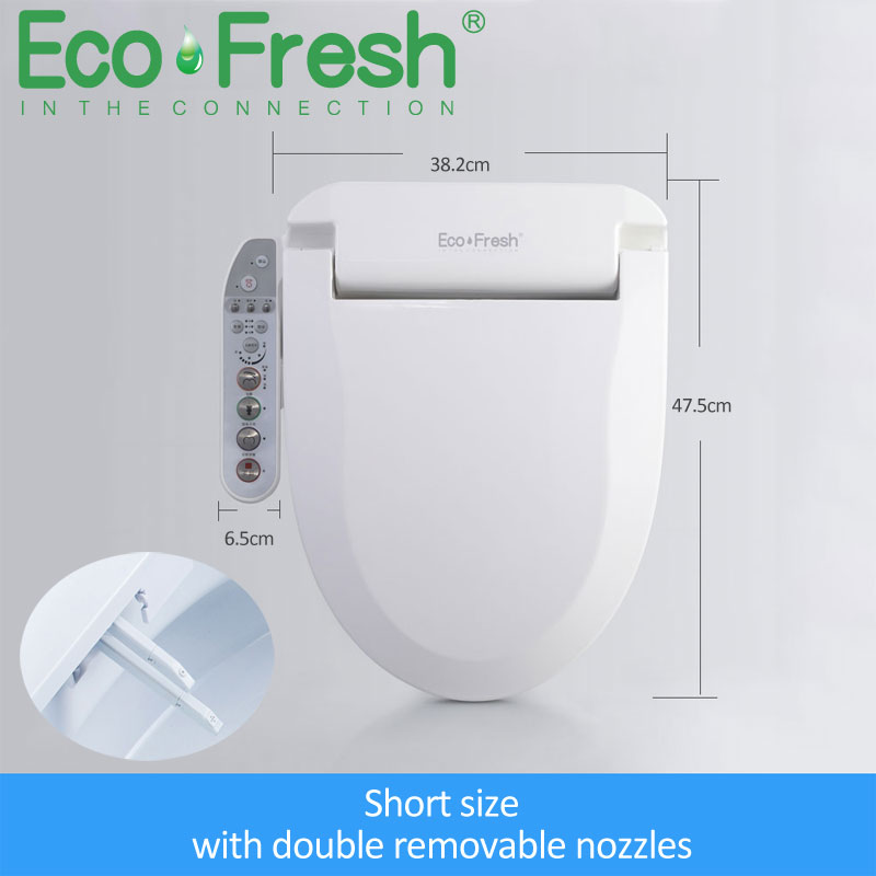 EcoFresh-غطاء مقعد المرحاض الكهربائي الذكي ، بيديه ، فوهات مزدوجة ، بخاخ ، تنظيف حراري ، تدليك جاف