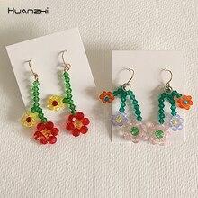 HUANZHI 2020 corée S925 coloré géométrique Transparent cristal fleurs longues boucles doreilles pour femmes filles bijoux cadeaux