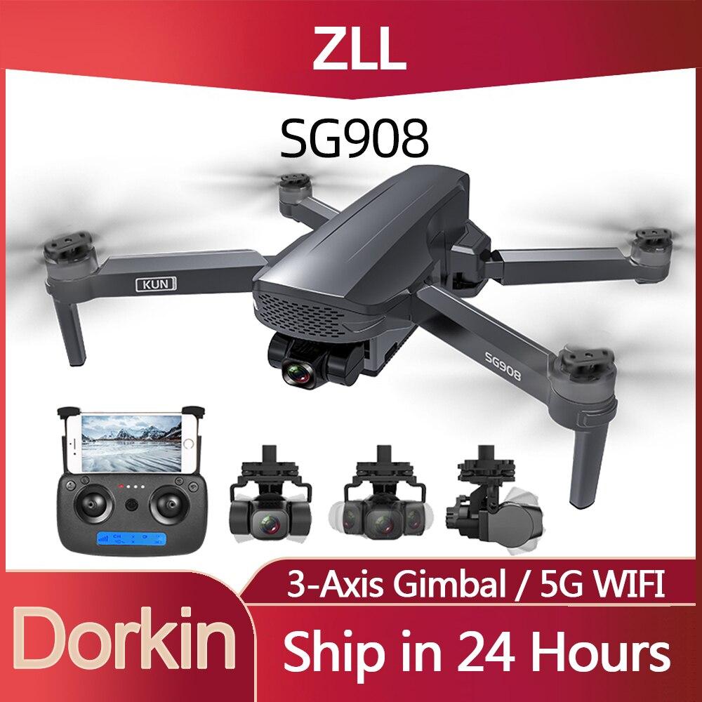 الأصلي ZLL SG908 كاميرا بدون طيار 4k المهنية مع 3-محور مثبت أفقي فرش السيارات 5G واي فاي لتحديد المواقع كوادكوبتر RC الطائرة بدون طيار