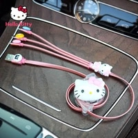 hello kitty charger fast charge female cute cartoon compatible with apple huawei android three in one data cable