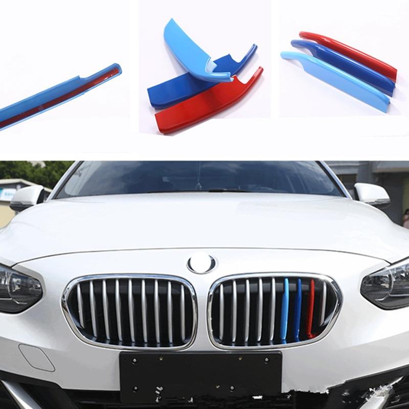 1 2017 para BMW Serie 3 uds. Parrilla frontal de coche de tres colores cubierta de corte de tira decorativa para parachoques