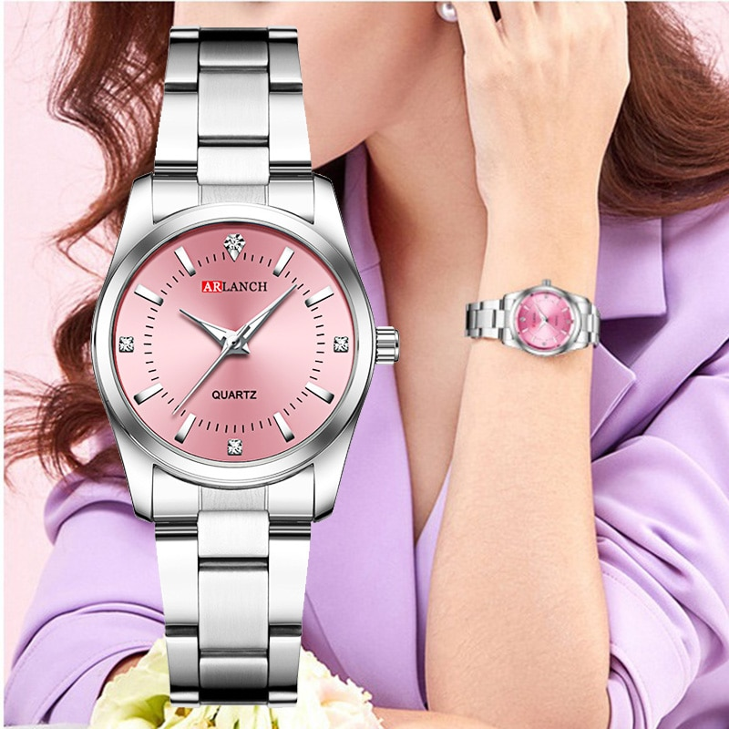 wrist watch women quartz clock brand fashion ulzzang watch blue pink colorful white ladies sport waterproof casual free shiping Women Pink Bracelet Watch Luxury Brand Small Ladies Casual Silver Steel Belt Quartz Dress Wrist Watches Diamond Waterproof Clock