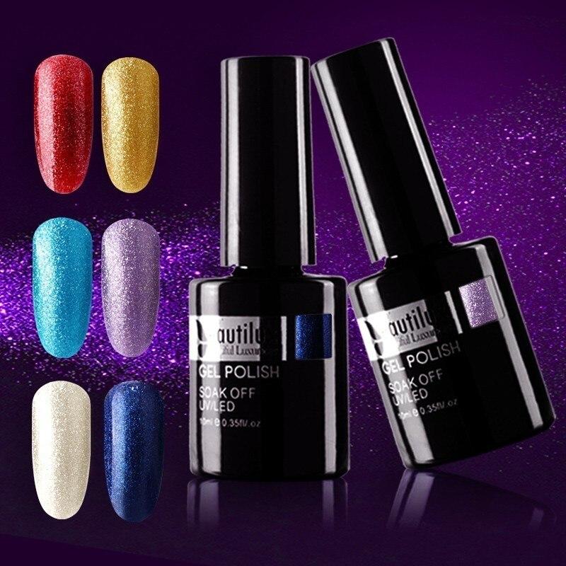 Beautilux 1 ud. Brillo de diamante brillante invierno esmalte de uñas de gel de colores UV LED brillo para decoración de uñas Soak Off geles laca barniz 10ml