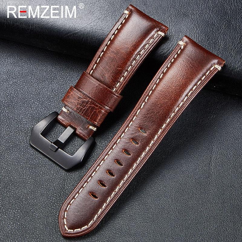 REMZEIM, nuevo reloj Retro italiano de cuero auténtico, correa de correa, negro, marrón, azul, verde, 20 24 22 26mm, accesorios de reloj de pulsera