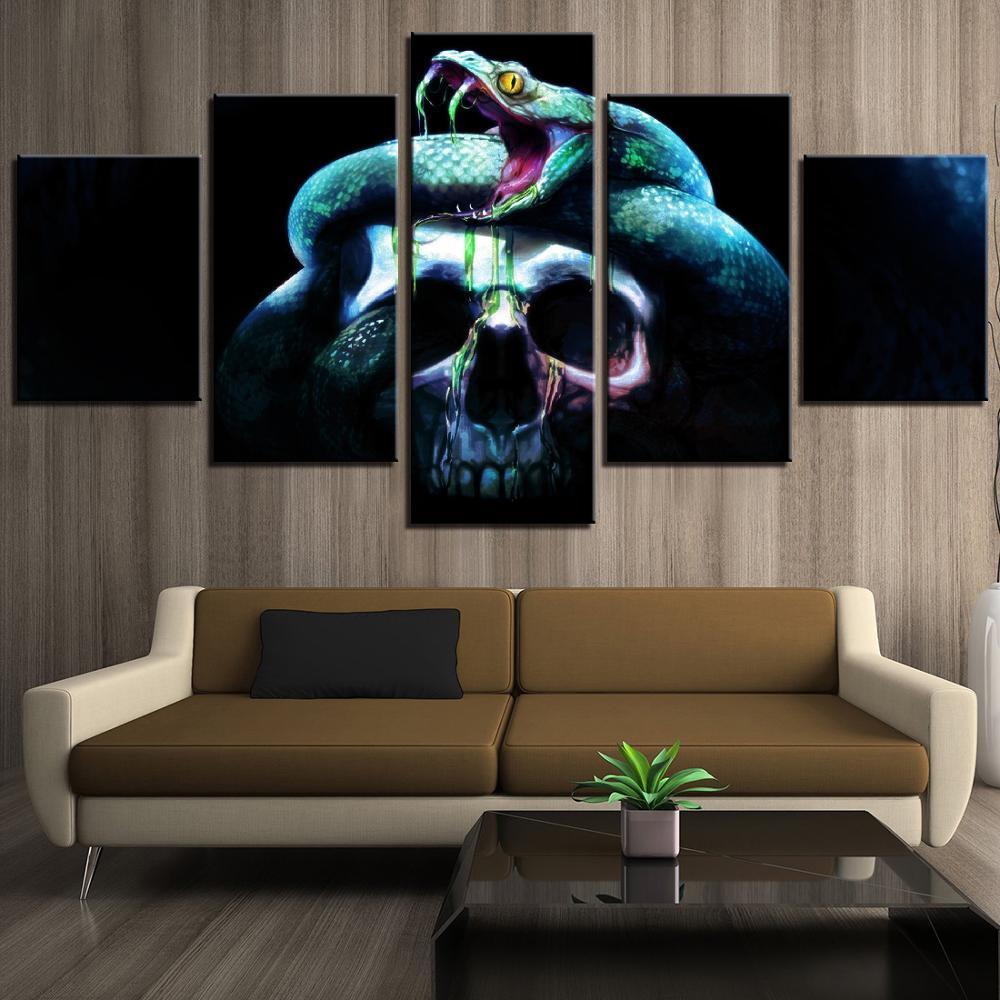 5 piezas de calavera escalofriante y serpiente verde HD impreso arte de pared hogar/Decoración Para sala de estar lienzo Simple pintura cuadro Halloween carteles
