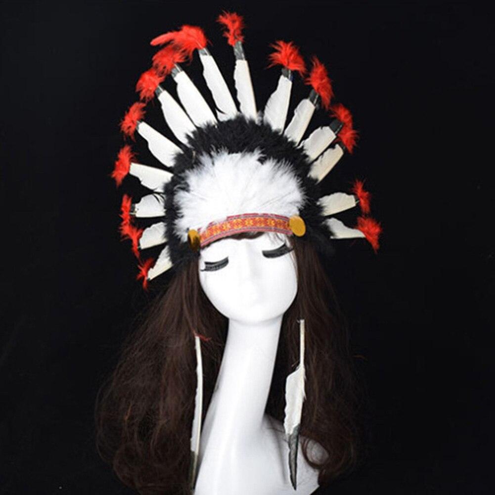 Sombreros de plumas coloridas de Halloween para el día del carnaval, diadema de estilo indio, sombrero de cabeza, sombrero de tocado de fiesta