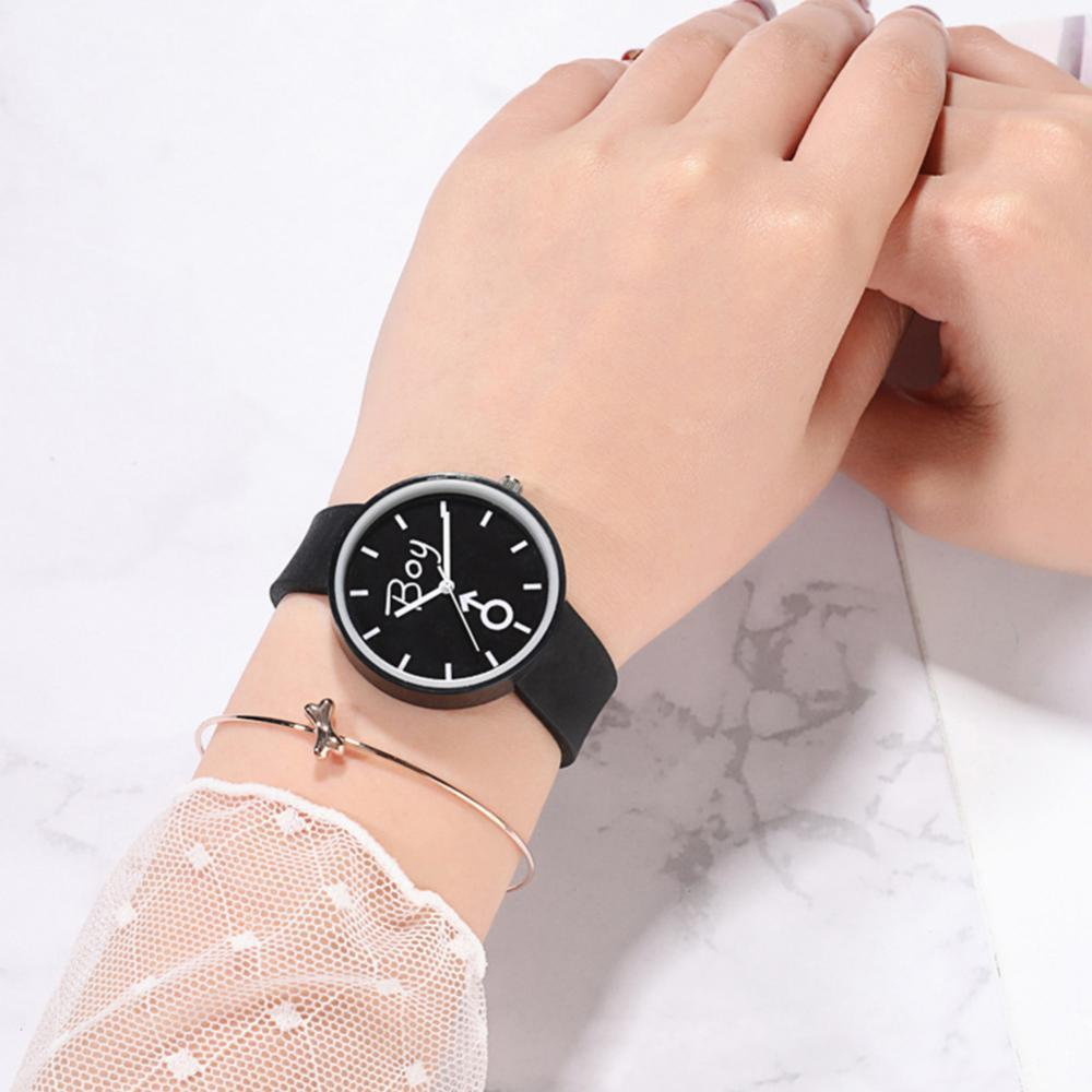Boy Girl Jelly Watch Couple Watch Women Fashion Round Dial Silicone Band No Number Analog Quartz Wat