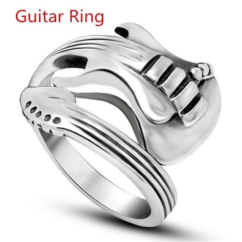 FDLK    Women Men's Jewelry Hip Hop & Rap Gothic Punk Rock Stainless Steel Unisex Guitar Ring Wholesale