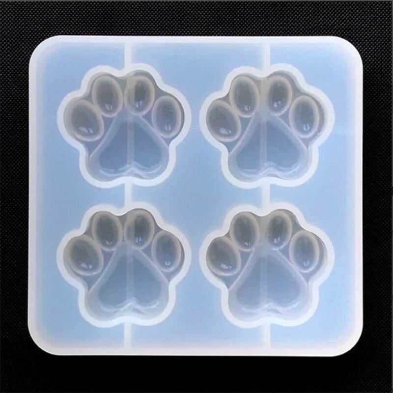 Pata de Gato molde de silicona (4 cavidad) perro molde animales molde de claro UV resina cabujón decoden DIY resina moldes para joyería