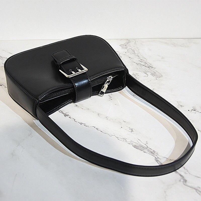 السيدات بولي Leather الجلود الصغيرة تحت الإبط حقيبة كتف Vintage مشبك بسيط الإبط حقيبة يد سلسلة كول بنات شنطة يد سوداء محفظة Bolso Mujer