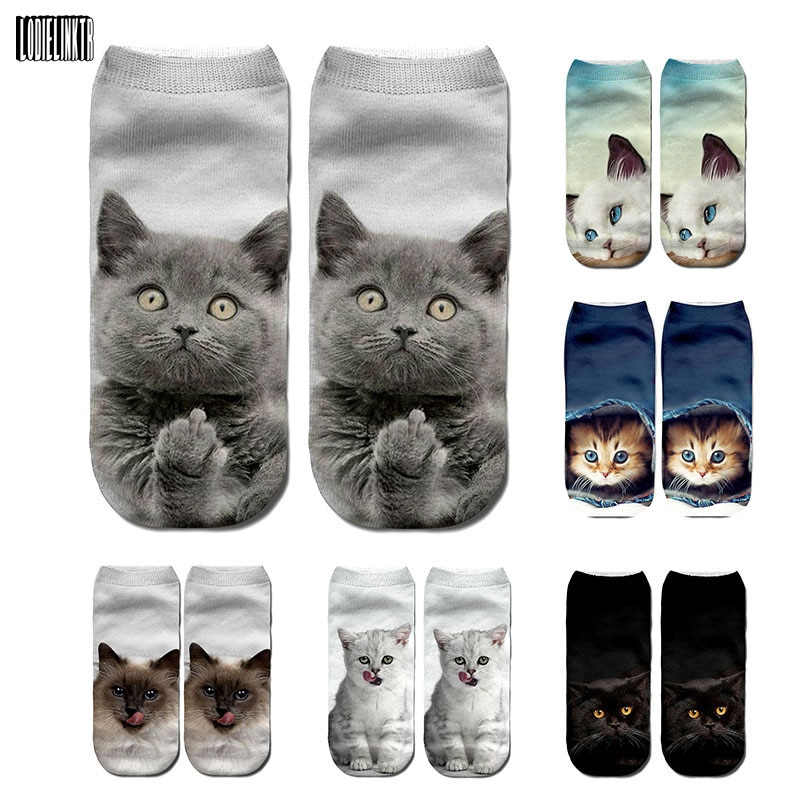 New 3D Print Funny Cute Cartoon Kitten Uni Short Socks Creative Colorful Multiple Cat Face Happy Low Ankle Socks For Women
