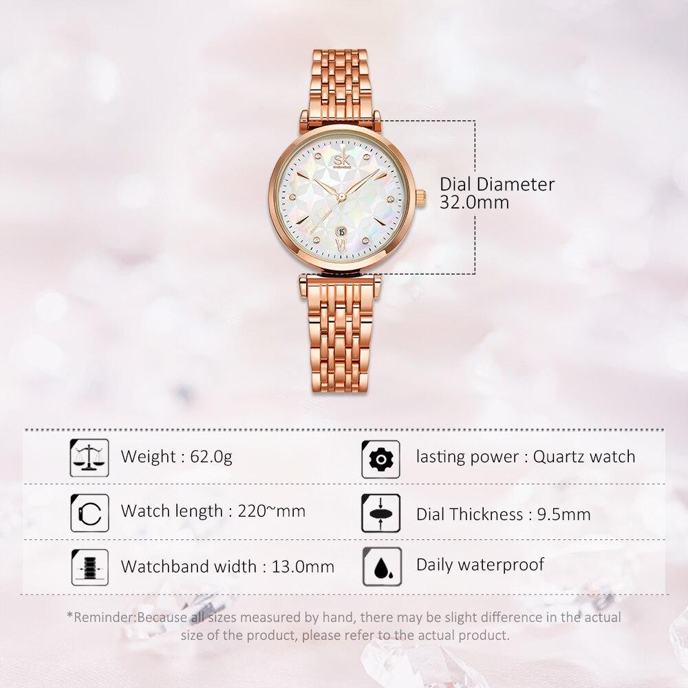 Shengke Women Quartz Watch Top Brand Luxury Japan Movement Stainless Steel Rose gold& Silver Waterproof Wristwatch with gift box enlarge