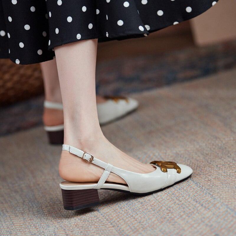 Retro Women Summer Sandals Genuine Leather Slingbacks Buckle Sandals Paper Clip Metal Decor Square High Heels Dress Shoes 2021