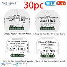 Мини-модуль переключателя Moes с Wi-Fi, умный диммер для освесветильник, 2 клавиши, пульт дистанционного управления, Alexa Google Home