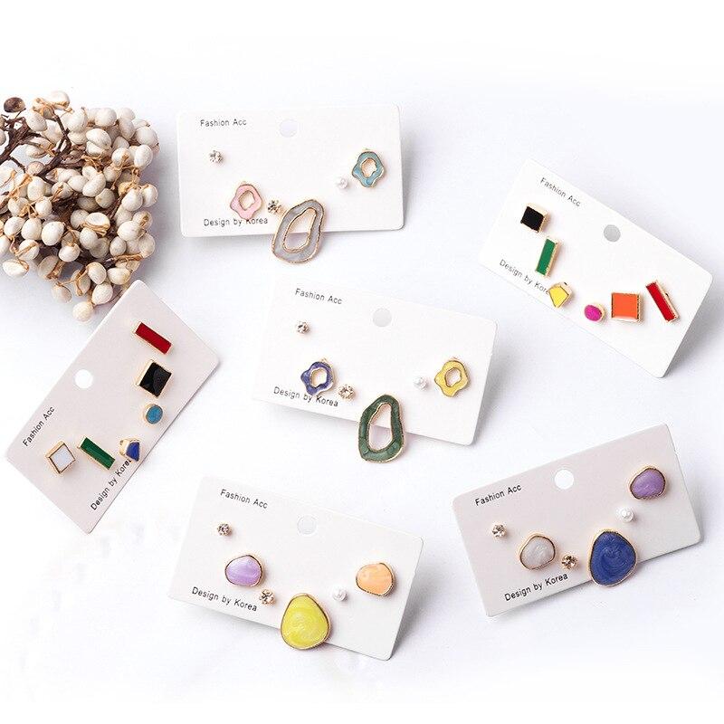 6 pièces/ensemble boucle doreille Style mixte strass perle géométrique irrégulière émail boucle doreille ensemble Style coréen bonbon couleur boucle doreille