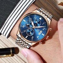 OLEVS Business Mens Watches with Stainless Steel Top Brand Waterproof Luxury Sports Chronograph Quar