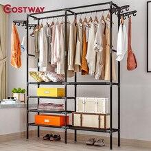 COSTWAY-colgador de ropa para el hogar, perchero de pie para almacenamiento de ropa, perchero de pie