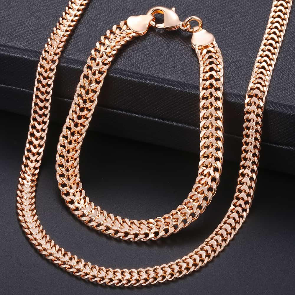 Conjunto de joyería para hombres y mujeres, conjunto de collar de pulsera de oro rosa 585 con doble curva, cadena cubana de Bismark 2018, joyería al por mayor ksc04