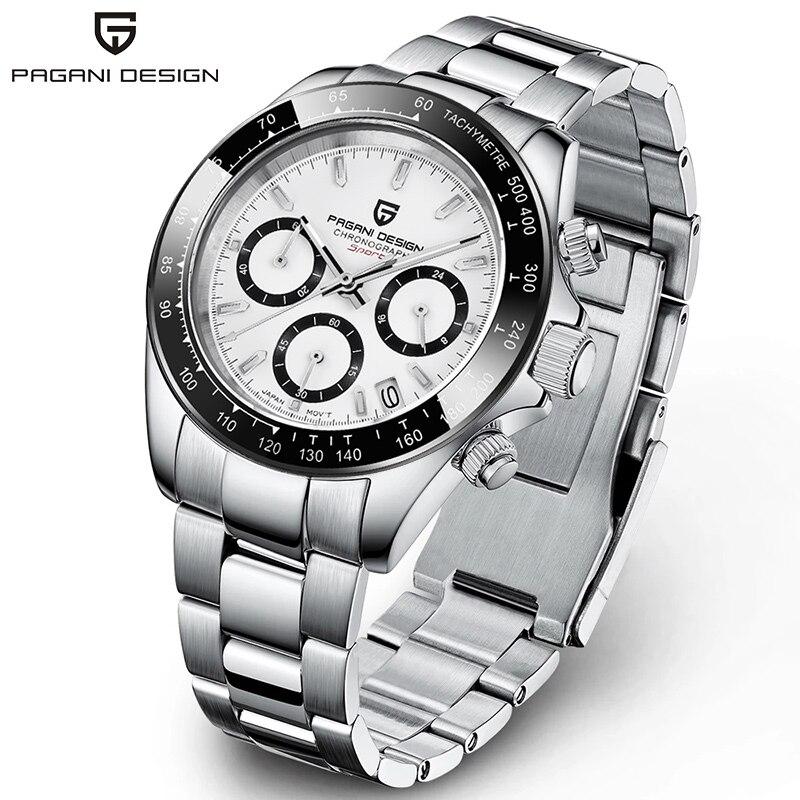 ساعة كوارتز رياضية للرجال من الفولاذ المقاوم للصدأ ، ساعة فاخرة مقاومة للماء مع كرونوغراف ، تصميم باجاني جديد ، ياقوت ، 2021