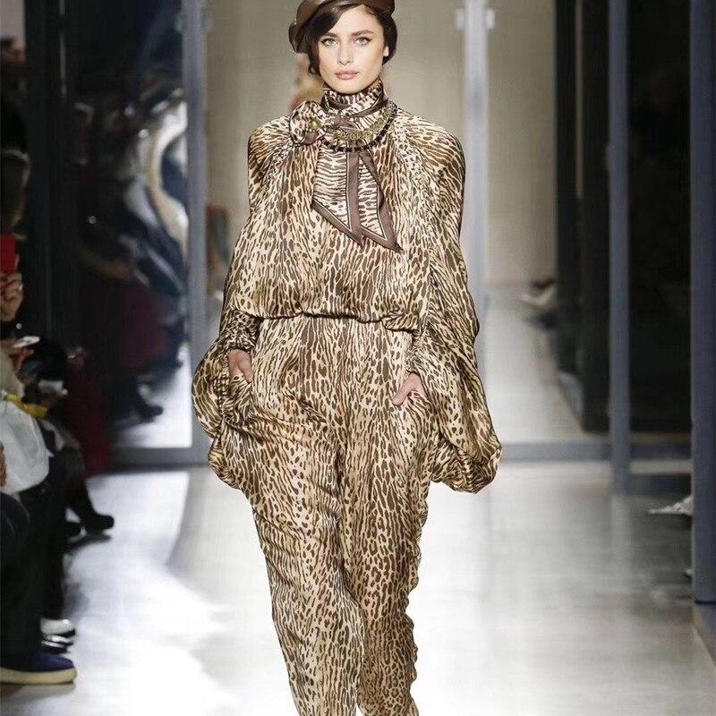 Neue Lose Hohe Taille Bluse Bleistift Hosen Zwei Stück Sets Leopard-druck Laterne Hülse Anzug Casual Urlaub Frauen Anzug streetwear