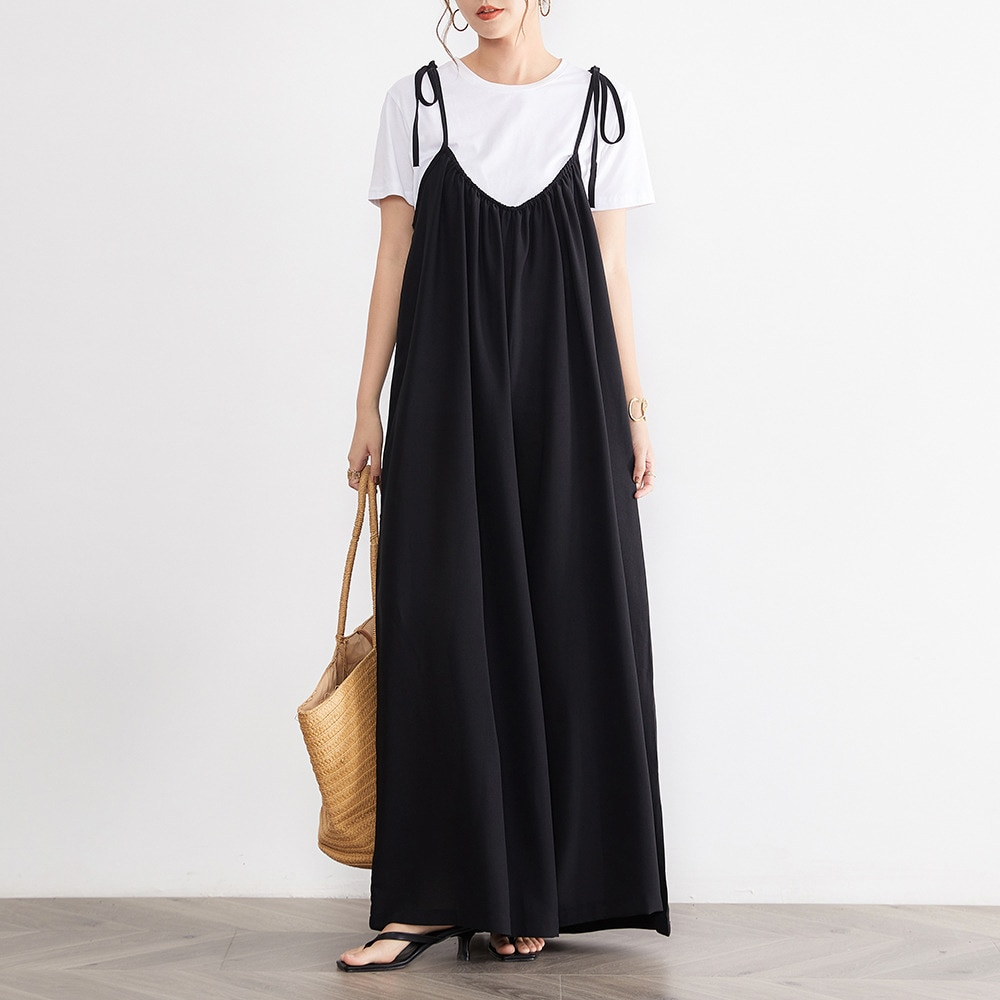 Women Strap Loose Jumpsuit Summer Casual Solid Overalls Sleeveless Oversized Wide Legs Pants 2021 Summer Fashion Jumpsuits