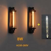 בציר תעשייתי מנורת קיר שחור כסף נחושת 8W LED קיר אור קפה השינה מסעדה פמוט קיר מנורה שליד המיטה אור הנורה