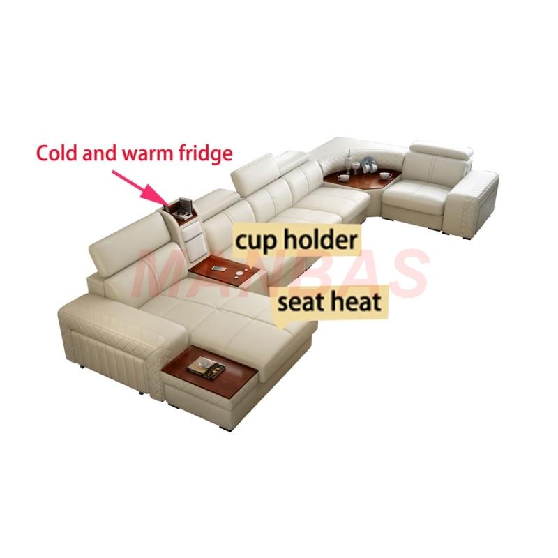 أريكة غرفة المعيشة من الجلد الطبيعي ، أريكة غرفة المعيشة ، أريكة الصالون ، دافئة وباردة ، USB U
