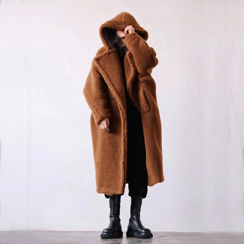Фото - Женское пальто средней длины из овечьей шерсти с капюшоном пальто средней длины с капюшоном