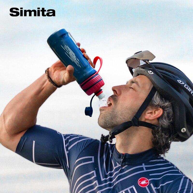 Simita ضغط زجاجة ماء ، البلاستيك دراجة نارية رياضية زجاجة ، بروتابلي في الهواء الطلق درينكوير غلاية ، الطاقة الشراب ، تسرب برهان ، 750 مللي BPAFree