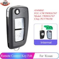 KEYECU Remote Key Fob 434MHz FSK for Nissan Qashqai J11 Pulsar C13 Juke F15 X-Trail T3 FCC: CWTWB1G767