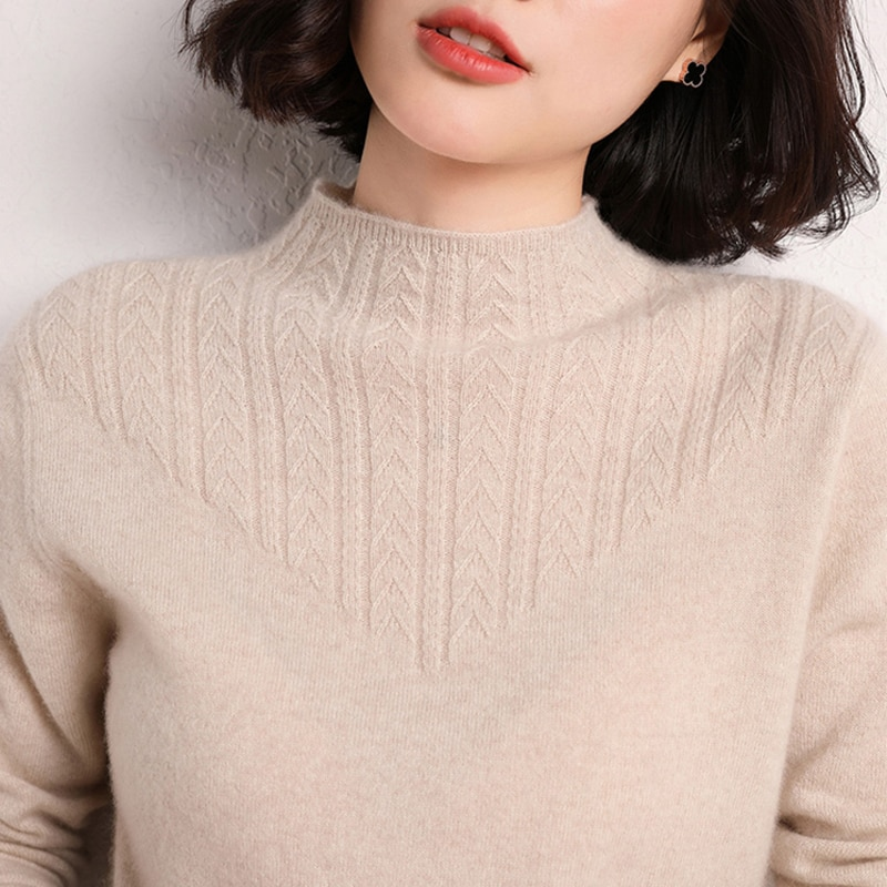 Cashmere Sweater Women 'S 100% Pure Wool Bottoming Shirt Spring And Autumn New Half Turtleneck Middle-Aged Mom Sweater enlarge