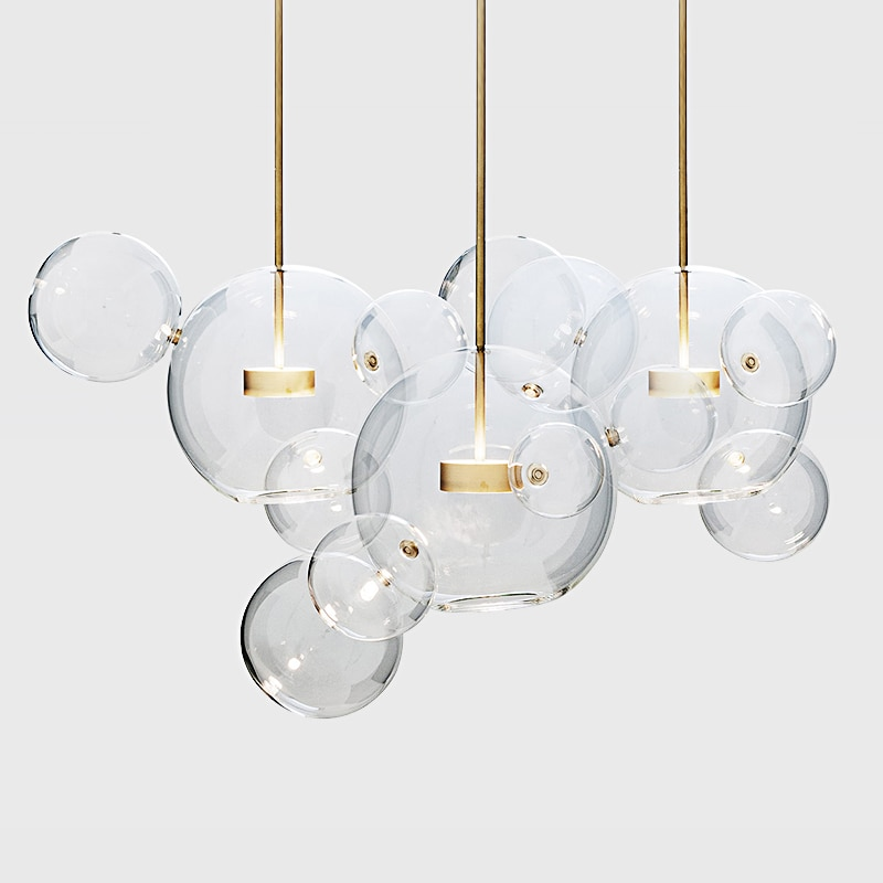 Artpad-ثريا LED على شكل فقاعة زجاجية شفافة ، إضاءة دافئة/بيضاء إبداعية ، إضاءة داخلية ، إضاءة سقف مزخرفة ، مثالية لغرفة المعيشة أو غرفة الطعام
