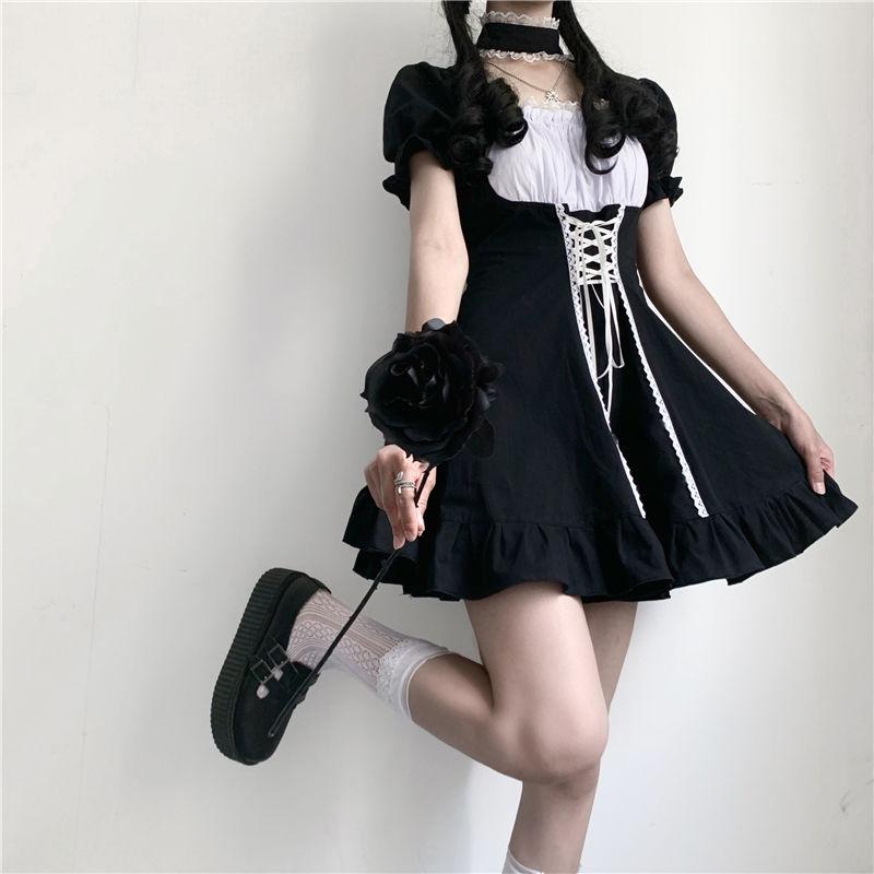 Japanese Soft Sister Cute Lolita Dress Women Victorian Gothic Puff Sleeve Slim Dress Party Retro Dark Girls Bandage Maid Dresses