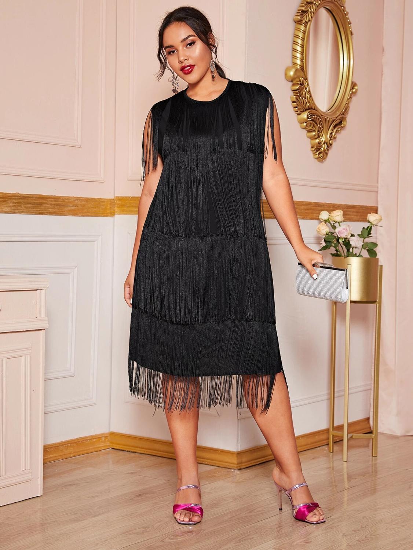 DOIB Black Plus Size Dress Women Sexy Patchwork Tassel Large Dresses 4XL Sleeveless Big
