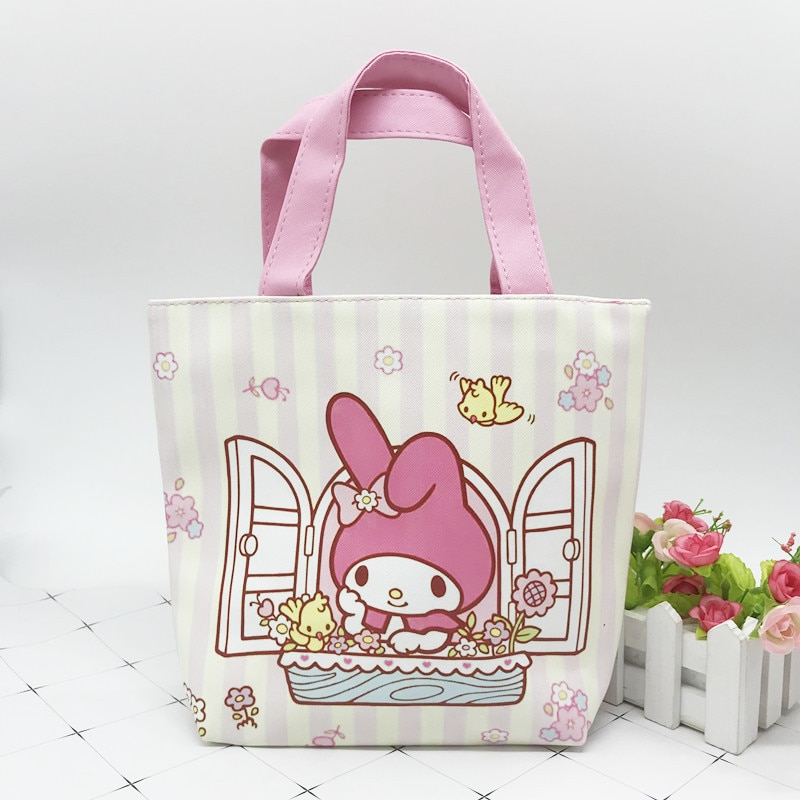 Kawaii Cartoon Little Twin Stars My Melody Sumikko PU Leather Waterproof Lunch Bag Student Picnic Storage Handbag Food Organizer