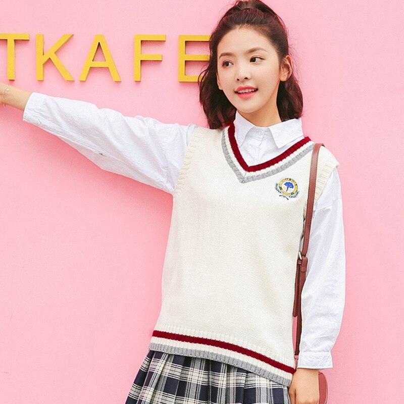 Autumn New Sweater Vest Women Striped Appliques Vest Korean Style Sleeveless V-neck Ladies Knit Tank Tops