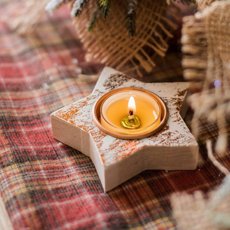 Candelabro pequeño de madera con estrellas para Navidad, portavelas romántico para restaurante,...