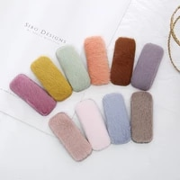 artifical fur snap pin sweet winter pom pom square motif hair accessories hair clips for girls drop shipping