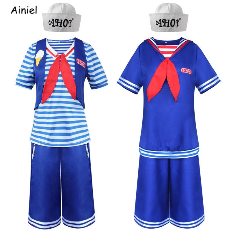 Stranger Things 3 disfraz de Cosplay Steve Harrington Robin Scoops Ahoy Sailor Navy uniforme Top chaleco pantalones azules trajes para mujeres y hombres