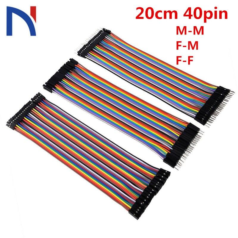 Línea Dupont 20cm 40pin macho a macho, hembra a macho, y hembra a hembra Jumper Wire Connector Dupont Cable sfor Breadboard