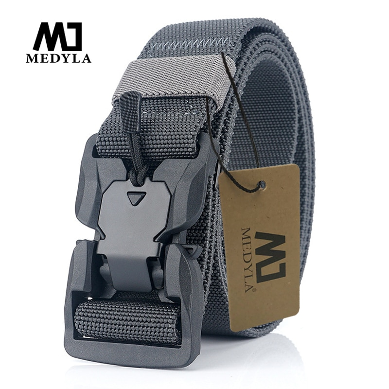 MEDYA Official Genuine Tactical Belt Quick Release Magnetic Buckle Military Belt Soft Real Nylon Sports Accessories MN057