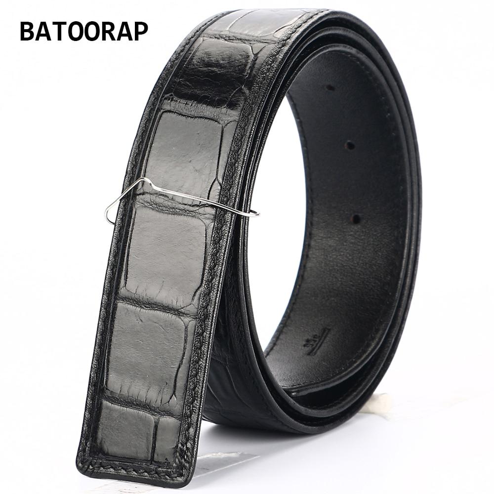2021 أفضل ماركة بسيطة الراقية التمساح حزام فاخر مصمم الرجال التمساح حزام وسط أسود براون لا تشمل مشبك حزام
