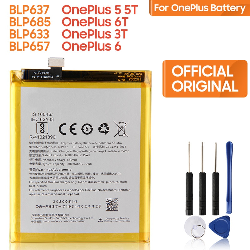 Original Replacement Battery BLP637 For OnePlus 5 5T One Plus 1 2 3 6 6T 7T 7Pro 1+ 7T Pro 7 Pro BLP745 Authentic Phone Battery недорого