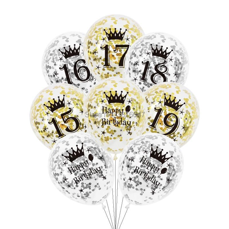 6 unids/lote 15 16 17 18 19 globos de feliz cumpleaños oro plata 16 fiesta 18 decoración transparente confeti globo de aniversario